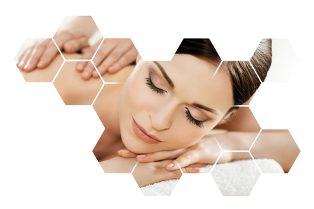 Young and beautiful woman in spa. Collage with honeycomb mosaic tiles. Massaging and healing concept. Stock Photo