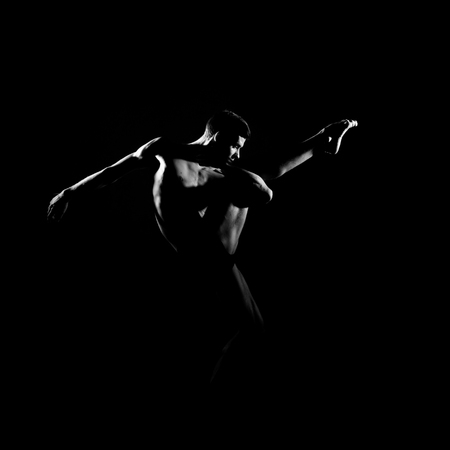 Black and white silhouette of male ballet dancer. Banque d'images