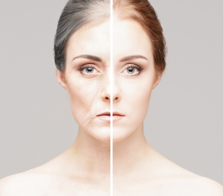 Collage of two portraits of the same old woman and young girl. Stock Photo