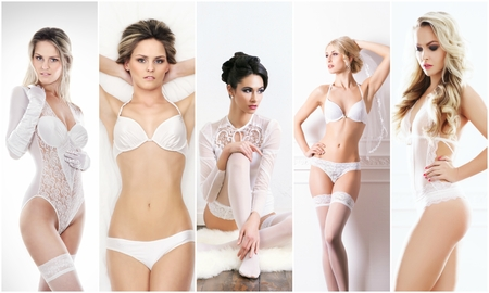 Bridal lingerie collection. Young, beautiful and sexy women posing in white underwear. Spring concept.