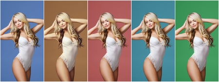 Collage of a young, sporty and fit woman in white underwear over different colorful background. Fashion and beauty concept.