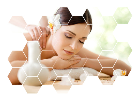 Young and beautiful woman in spa. Collage with honeycomb mosaic tiles. Massaging and healing concept. Standard-Bild