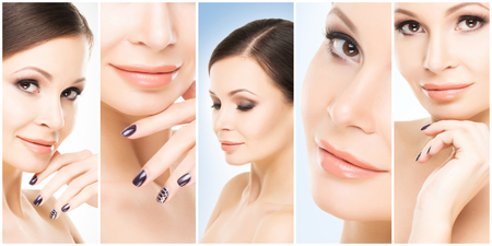 Human face in a collage. Young and healthy woman in plastic surgery, medicine, spa and face lifting concept. Foto de archivo