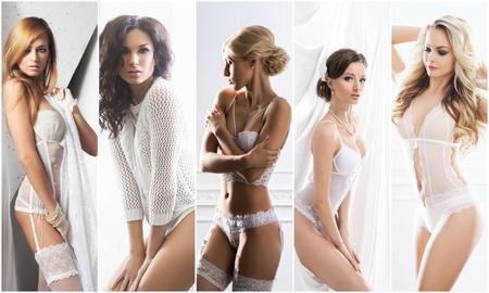 White underwear collection. Sexy brides in erotic lingerie. Underwear collage.