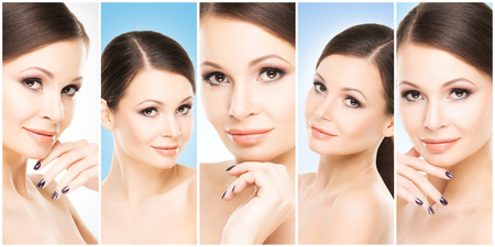 Human face in a collage. Young and healthy woman in plastic surgery, medicine, spa and face lifting collection.