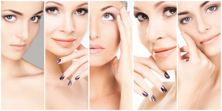 Collage of female portraits. Healthy faces of young women. Spa, face lifting, plastic surgery concept. Stock Photo