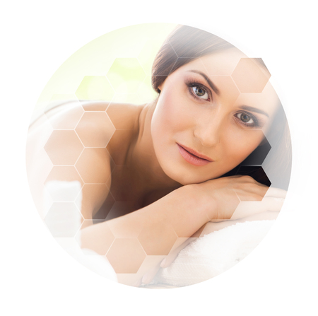 Young and beautiful woman in spa. Collage with honeycomb tiles. Healing and massaging concept. Imagens