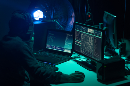 Hackers making cryptocurrency fraud using virus software and computer interface. Blockchain cyberattack, ddos and malware concept. Underground background. Imagens