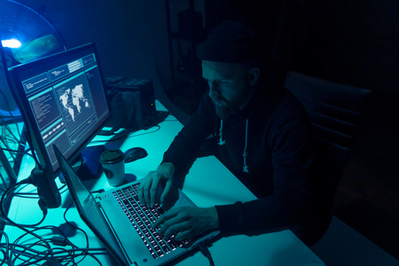 Hackers making cryptocurrency fraud using virus software and computer interface. Blockchain cyberattack, ddos and malware concept. Underground background. Standard-Bild