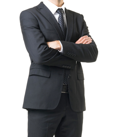 Businessman in suit isolated on white. Close-up of man in formalwear.