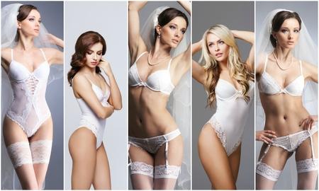 Bridal underwear collection. Sexy woman in erotic underwear. Bride in lingerie.