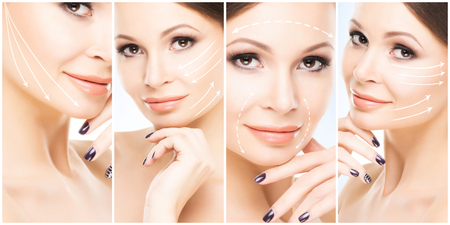 Human face in a collage. Young and healthy woman in plastic surgery, medicine, spa and face lifting concept. Stock Photo