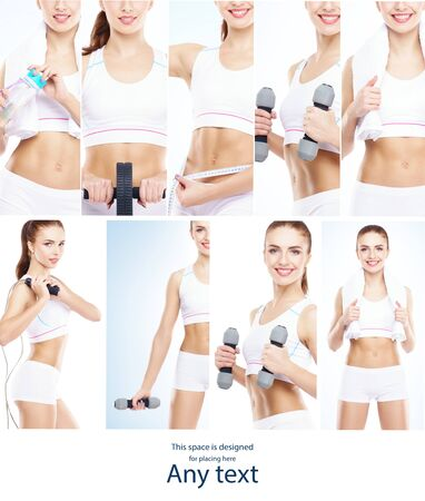 Health, sport, fitness, nutrition, weight loss, diet, cellulite removal, liposuction, healthy liWomen in swimsuits.