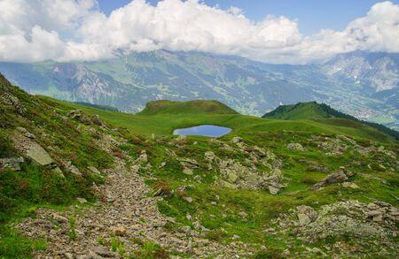 Alpine peaks landskape background. Jungfrau, Bernese highland. Alps, tourism journey hiking concept Banco de Imagens