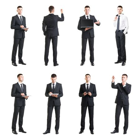 Set of a young and handsome businessman isolated on white. Business, career, job, concept. Фото со стока