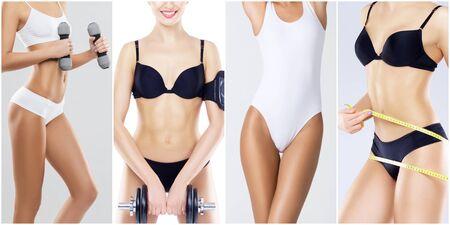 Corpo femminile sportivo, in forma e sano in collage di fitness. Giovani donne in costumi da bagno isolati su bianco.