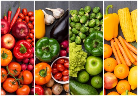 Ingredientes para una alimentación saludable: verduras frescas, frutas y superalimentos. Nutrición, dieta, concepto de comida vegana.
