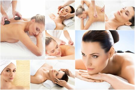 Collection of photos with women having different types of massage. Spa, wellness, healing, rejuvenation, health care and aroma therapy.