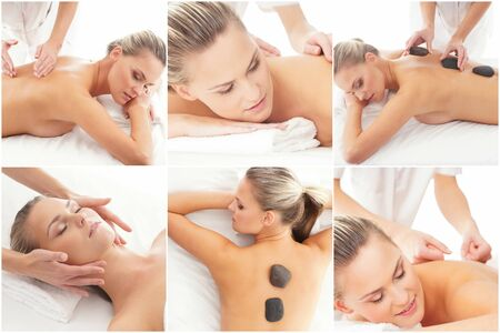 Women relaxing in spa collection. Wellness, healing, rejuvenation, health care and aroma therapy. Stock Photo