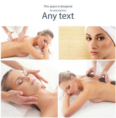 Massage and healing collection. Women having different types of massage. Spa, wellness, health care and aroma therapy.