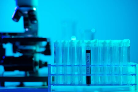 Close-up of scientific laboratory in hospital. Epidemic disease, healthcare, vaccine research and coronavirus 2019-ncov test.
