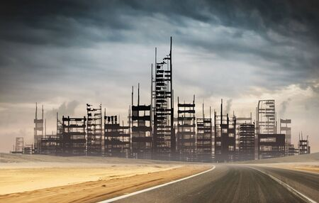 Apocalyptic ruins of the death city. Disaster effect after novel coronavirus.