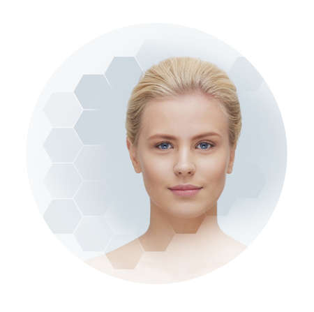 Portrait of young, healthy and beautiful girl. Plastic surgery, skin lifting, spa, cosmetics and medicine Stockfoto