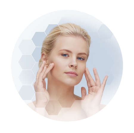 Human face in honeycomb. Young and healthy woman in plastic surgery, medicine, spa and face lifting.
