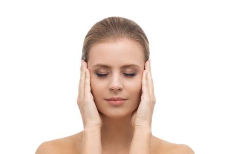 Face of a beautifyl girl. Skin lifting and cosmetics. Banco de Imagens