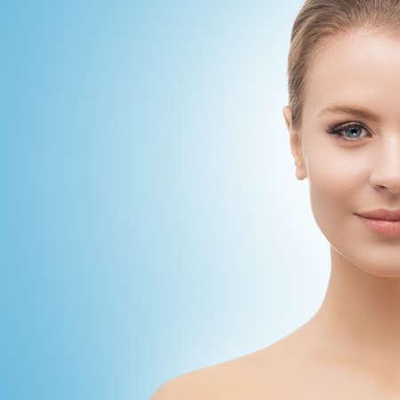 Face of a beautifyl girl. Skin lifting and cosmetics. Standard-Bild