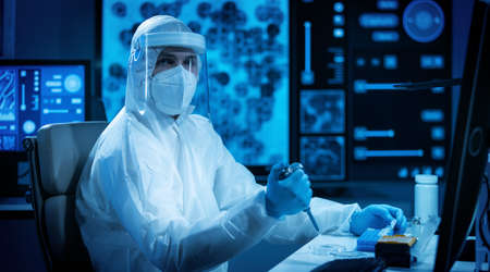 Scientist works in a modern scientific lab using laboratory equipment, microscope and computer technology. Invention of new vaccines. Concept of Science and Health. Stockfoto