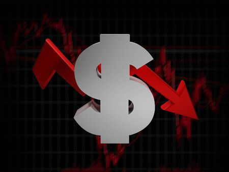 Dollar is falls. Down for a dollar sign - 3d rendering illustration