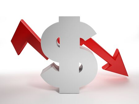 Dollar is falls. Dollar sign with red down arrow - 3d rendering illustration