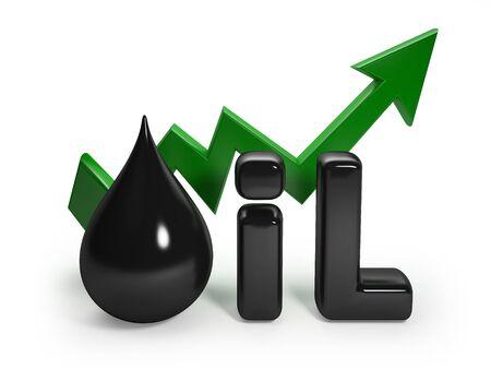 Oil rise on the stock exchange - 3D rendering illustration