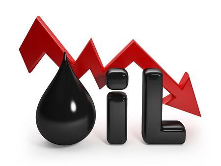 Oil drop on the stock exchange - 3D rendering illustration