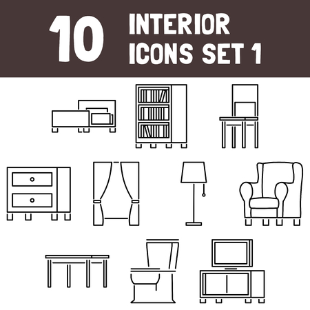 Interior Icons Set 1 Vector