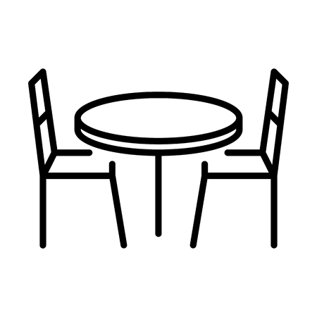 Chair Table Food Drink Vector Icon Illustration