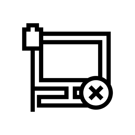 Computer Ethernet Connection Disconnected Icon Vector
