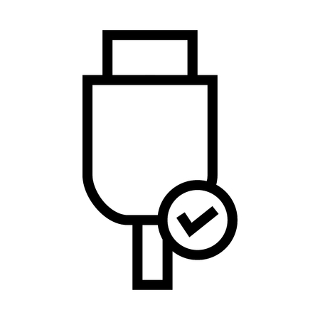 USB, Removable Hardware, Computer Cable Connection Notification Icon Vector.
