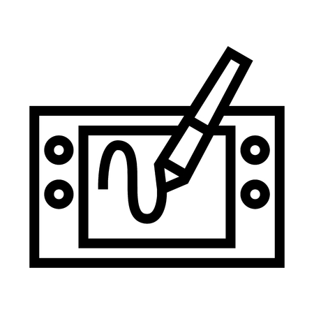 Pen Tablet Drawing Icon Vector