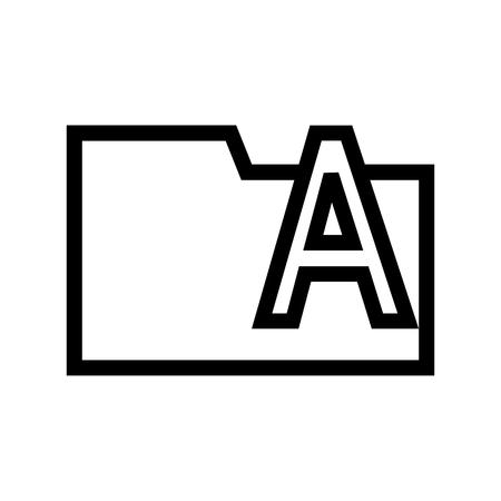Type Fonts Folder Icon Flat Vector