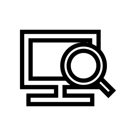 Searching Scan On Computer Icon Vector
