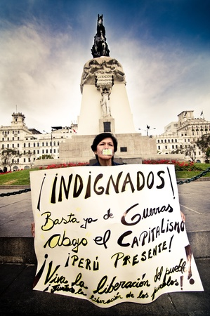 Indignados in Plaza San Martin, Lima