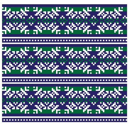 Christmas Fair Isle/Snowflakes Seamless Pattern/Print Background in Vector - suitable for both online/physical medium such as website resources, graphics, print designs, fashion textiles, knitwear and etc.