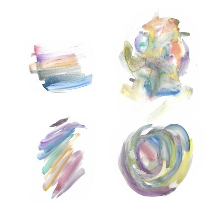 Isolated watercolour brushstrokes texture hand-painted on white background  - Suitable for both online/physical medium such as website resources, graphics, print designs, fashion textiles and etc. Stock fotó