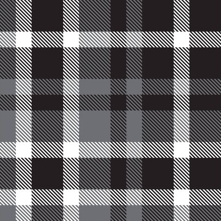 Classic black and white plaid, checkered, tartan pattern Vectores