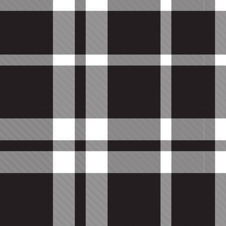 Classic black and white plaid, checkered, tartan pattern Illustration