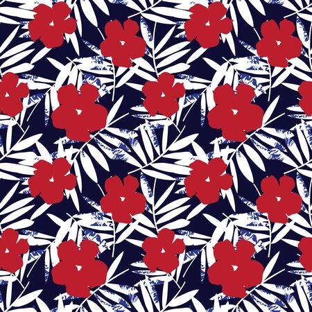Red and blue Floral botanical seamless pattern background suitable for fashion prints, graphics, backgrounds and crafts