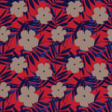 Red and blue Floral botanical seamless pattern background suitable for fashion prints, graphics, backgrounds and crafts Vector Illustration