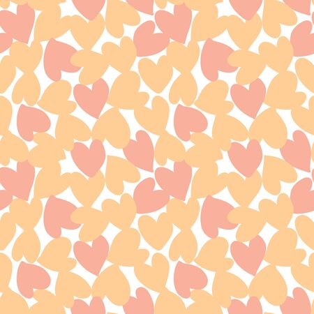 Orange Heart shaped Valentine's Day seamless pattern background for fashion textiles, graphics